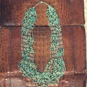 Turquiose Beads Silver Details Boho Aztec Necklace